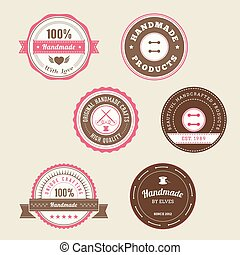 Badges For Handmade Products in pink and brown
