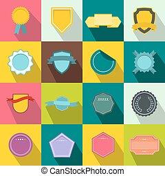 Badges icons set, flat style