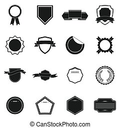 Badges icons set, simple style