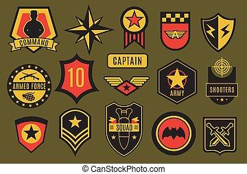 badges., jogo, estrela, remendos, eua, exército, chevrons, tipografia, aerotransportado, soldado, americano, vetorial, labels., militar