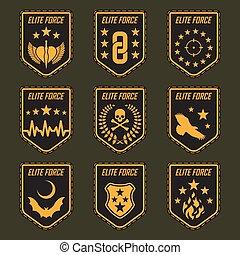badges., jogo, exército, ilustração, vetorial, militar