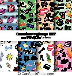 badges., jogo, remendos, padrões, alfinetes, seamless, estouro, remendo, 80s-90s, moda, adesivos, cômico, trendy., style., caricatura, art.