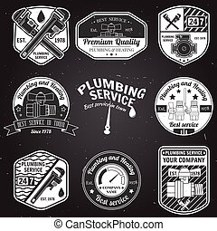 badges., jogo, serviço, vindima, retro, encanamento