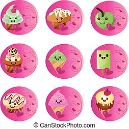badges kawaii food