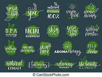 badges., komplet, organiczny, piękno, skuwki, wellness, labels., ręka, wektor, zdrowie, kosmetyki, pociągnięty, zdrój, wypośrodkowuje, signs., troska