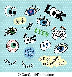 badges., olhos, moda, remendos, isolated., set., remendo, estouro, alfinetes, 80s-90s, vetorial, art., ilustração, cobrança, adesivos, cômico, trend., notas, style., caricatura, manuscrito