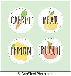 badges., parte, set, 2., frutta