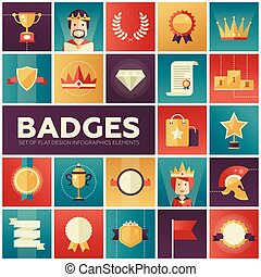 Badges, ribbons, awards icons set