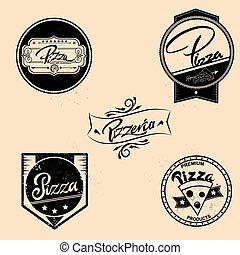badges., sätta, elementara, logo, årgång, etiketter, isolerat, illustration, vektor, design, symboler, style., pizza