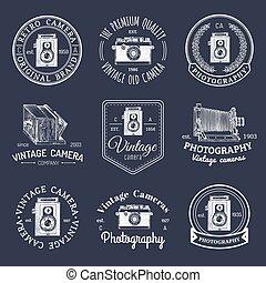 badges., salone, set, vecchio, vendemmia, cameras, studio, etichette, vettore, foto, logos., segni, o