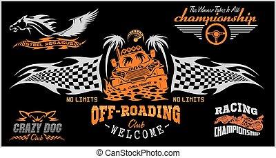 badges., set, automobile, fuoristrada, suv, emblemi
