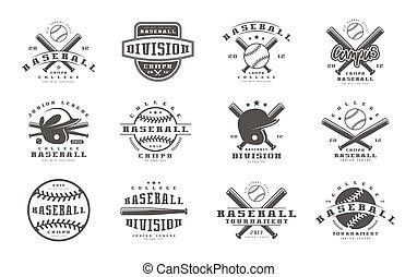 Badges set of baseball team. Graphic design for t-shirt....