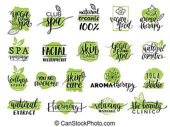 badges., set, organico, bellezza, etichette, wellness, labels., mano, vettore, salute, cosmetica, disegnato, terme, centri, signs., cura