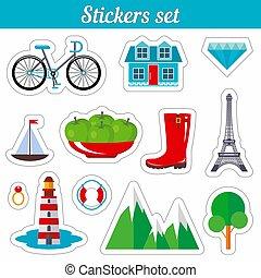 badges., set., stickers, spotprent, lappen
