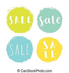 badges., set, verkoop
