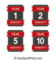 Badges set with year warranty on white background. Vector illustration.