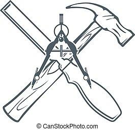 badges., vecteur, étiquette, construction, traversé, outils main, ou, carpenrty