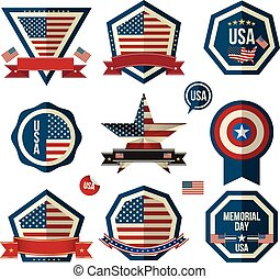 Badges vector set. Can use for greeting card ,Memorial day,...
