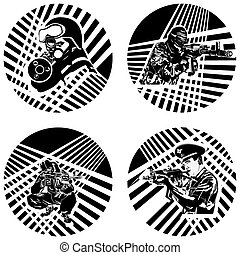 Badges with armed soldiers