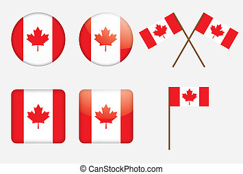 badges with Canadian flag
