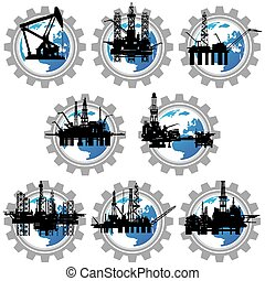 Badges with drilling rigs