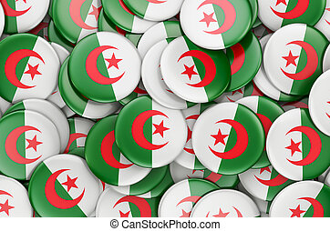 Badges with flag of Algeria, 3D rendering