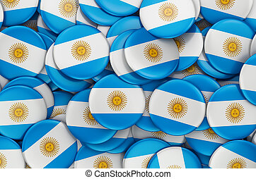 Badges with flag of Argentina, 3D rendering