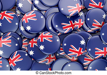 Badges with flag of Australia, 3D rendering