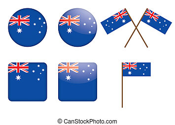 badges with flag of Australia vector illustration