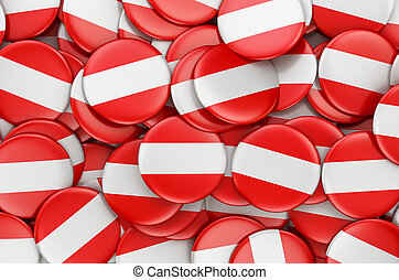 Badges with flag of Austria, 3D rendering
