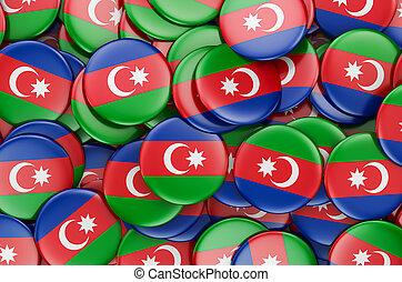 Badges with flag of Azerbaijan, 3D rendering
