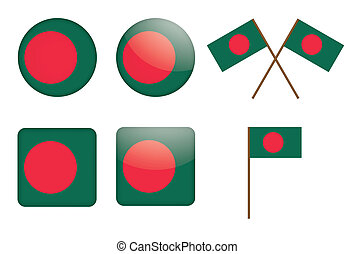 badges with flag of Bangladesh