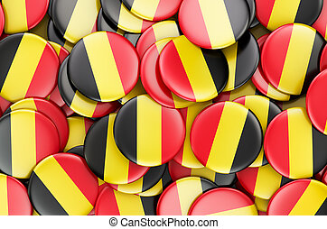 Badges with flag of Belgium, 3D rendering