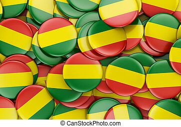 Badges with flag of Bolivia, 3D rendering