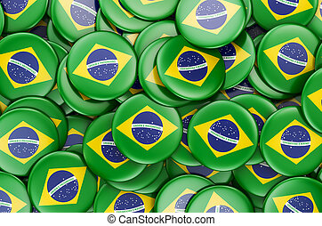 Badges with flag of Brazil, 3D rendering