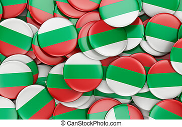 Badges with flag of Bulgaria, 3D rendering