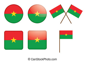 badges with flag of Burkina Faso