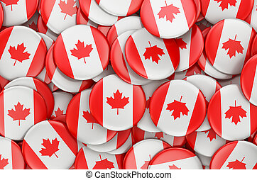 Badges with flag of Canada, 3D rendering