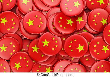 Badges with flag of China, 3D rendering