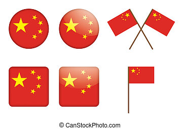 badges with flag of China