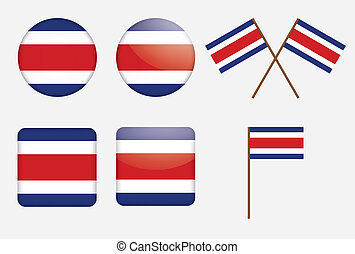 badges with flag of Costa Rica