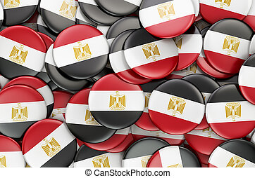 Badges with flag of Egypt, 3D rendering