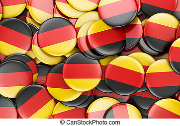 Badges with flag of Germany, 3D rendering