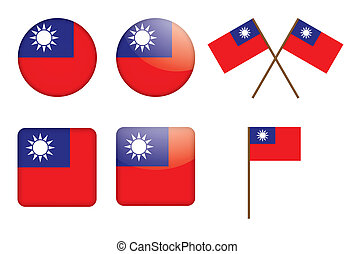 badges with flag of Taiwan