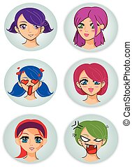 badges with manga girl faces