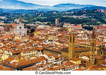 Badia Florentina Santa Croce Church Cityscape Florence Italy
