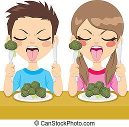 badine manger, brocoli, dégoûté
