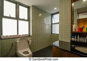 badkamer, in, een, moderne, woning