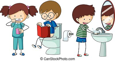 badkamer, kinderen, anders, routine