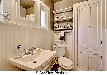 badkamer, met, plank, met panelen beklede muur
